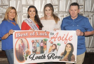 Marion Heffron, Louth Rose Aoife Heffron, Holly Lambe and Eamonn Sally at Aoife's 'Rose of Tralee send-off night' in The Rum House.